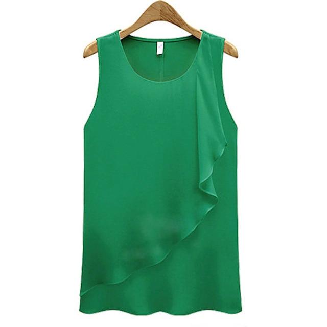 2016 Fashion Women Summer Vest Tank Top Sleeveless Ladies Chiffon Vest Blouse Harness Shirt Loose Plus Size Lace Camisole Top