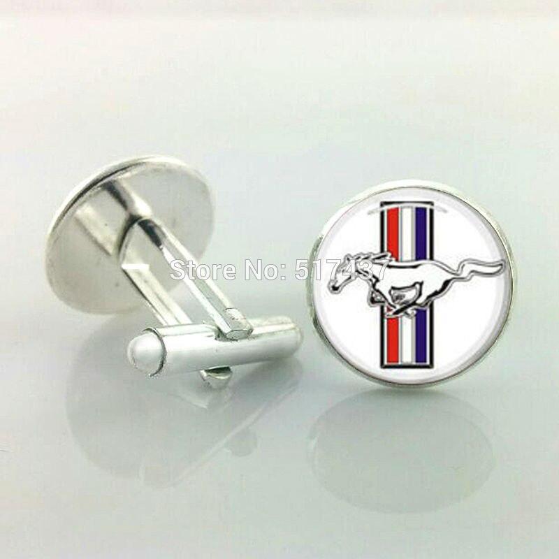J-137 Wholesale Ford Mustang Cufflinks Men Cufflinks High Quality Cufflinks Silver Round