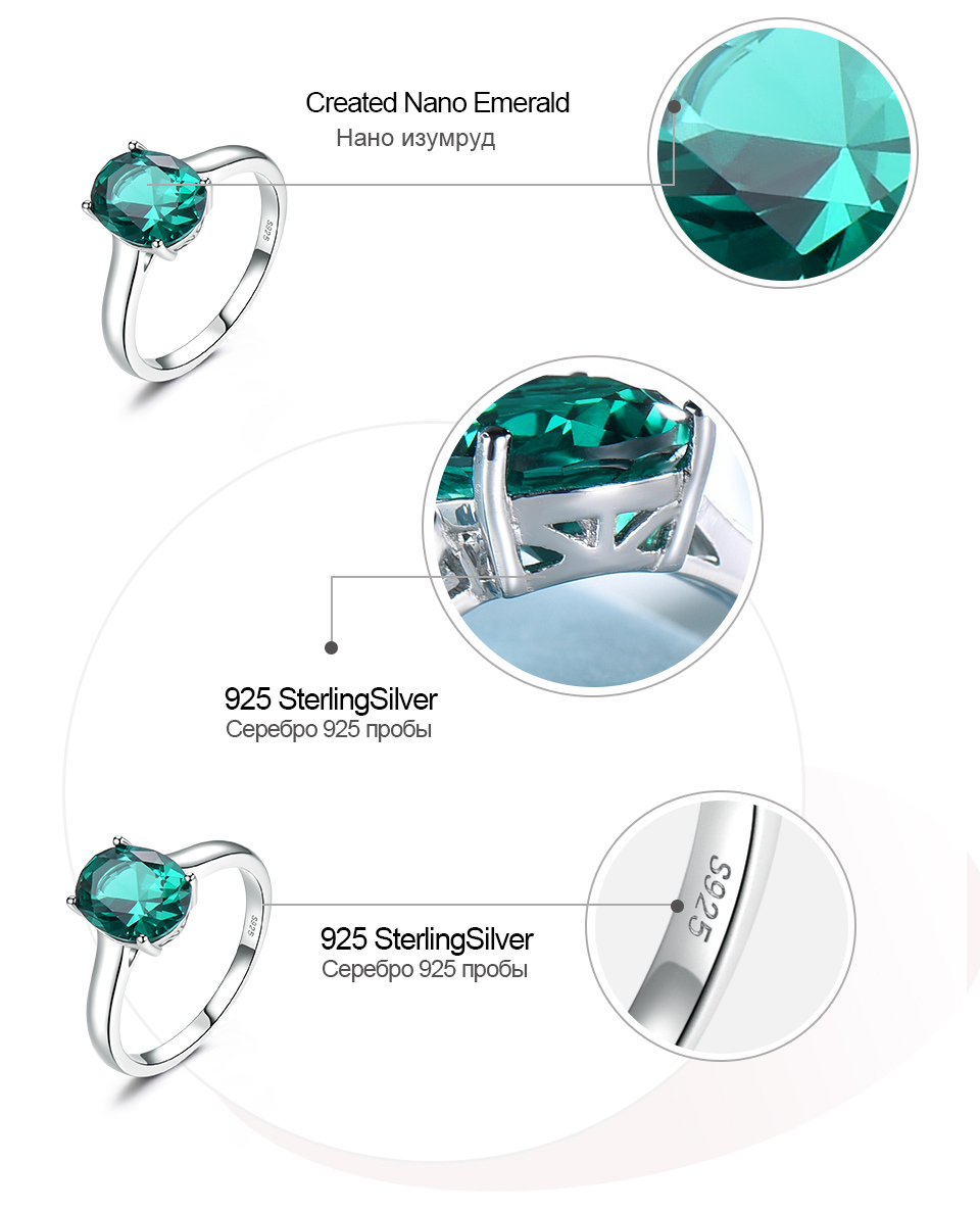 UMCHO ?Emerald   925 sterling silver ring for women NUJ095E-1-pc (7)