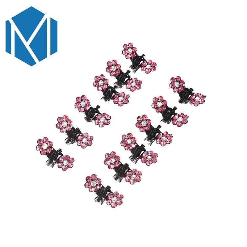 M MISM 12 unids / pack Nueva Crystal Rhinestone Flor Garra de Pelo - Accesorios para la ropa - foto 5