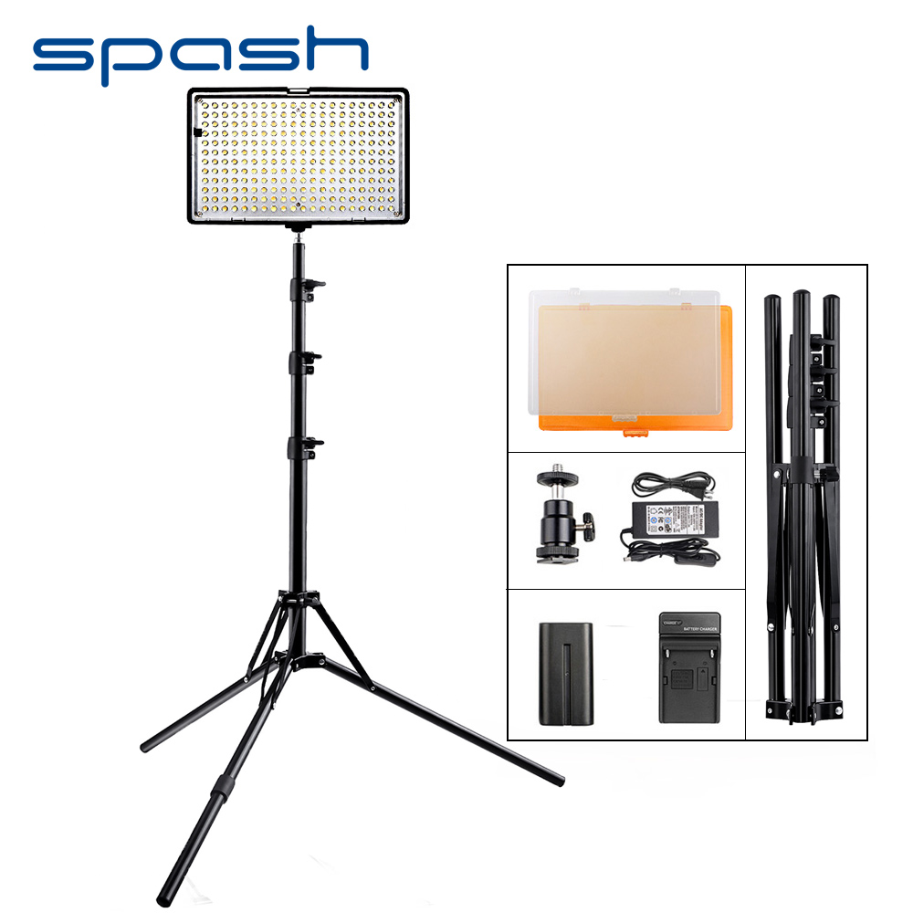 spash TL-240S 1 set LED Video Light with Tripod Stand CRI 93 3200K/5600K Studio Photo Lamp LED Light Panel Photographic Lighting spash tl 336as led video light dimmable 3200k 5600k photographic lighting hand held studio light lamp for canon nikon olympus