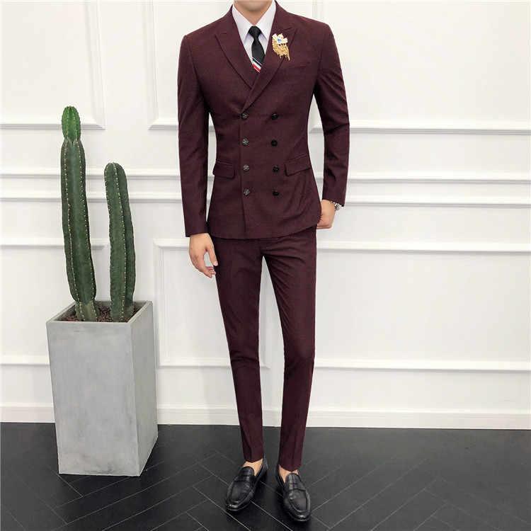 Double boutonnage hommes costume 2019 dernier manteau pantalon conceptions costume pour mariage marié Slim Fit smoking veste hommes d'affaires costumes formels