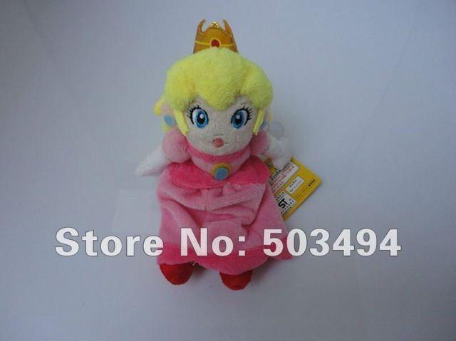 "EMS  Free Shipping 100PCS/lot Super Mario Plush toy 8.6"" sit Princess Peach Plush Doll Sitting"