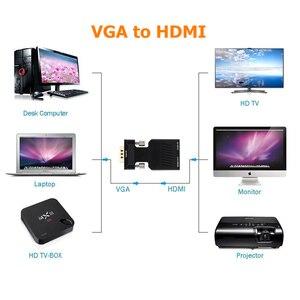 Image 3 - Adaptador VGA macho a HDMI hembra con salida de Audio de 3,5mm Cable HDTV de 1080P convertidor AV para PC Notebook proyector Monitor