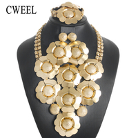 CWEEL Bridal Jewelry Sets Vintage African Beads Jewelry Set Round Turkish Ethiopian Dubai Indian Wedding For