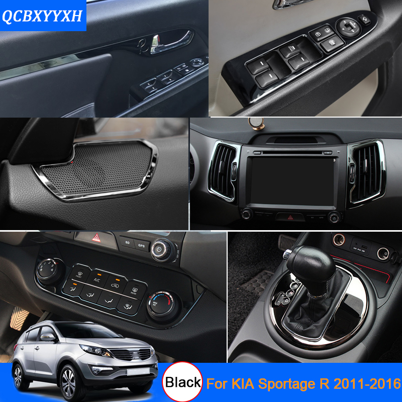 Car Styling Black Color For Kia Sportage R 2011-2016 Car Interior decoration Sequins Interior air conditioning panel sequins