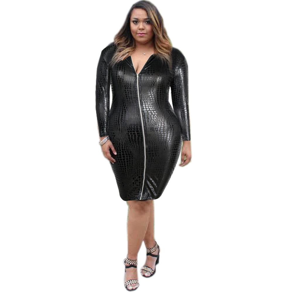 Plus Size Women Dress Clothing Sexy Black Snakeskin Faux Leather Bandage Dress Summer Zipper Bodycon Dress plus size women in leather