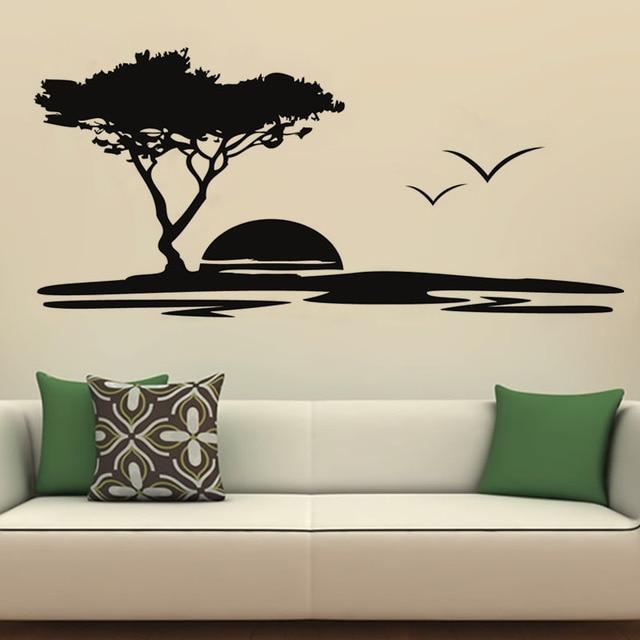 vinyl big tree and seagulls nature vinyl wall stickers seaside