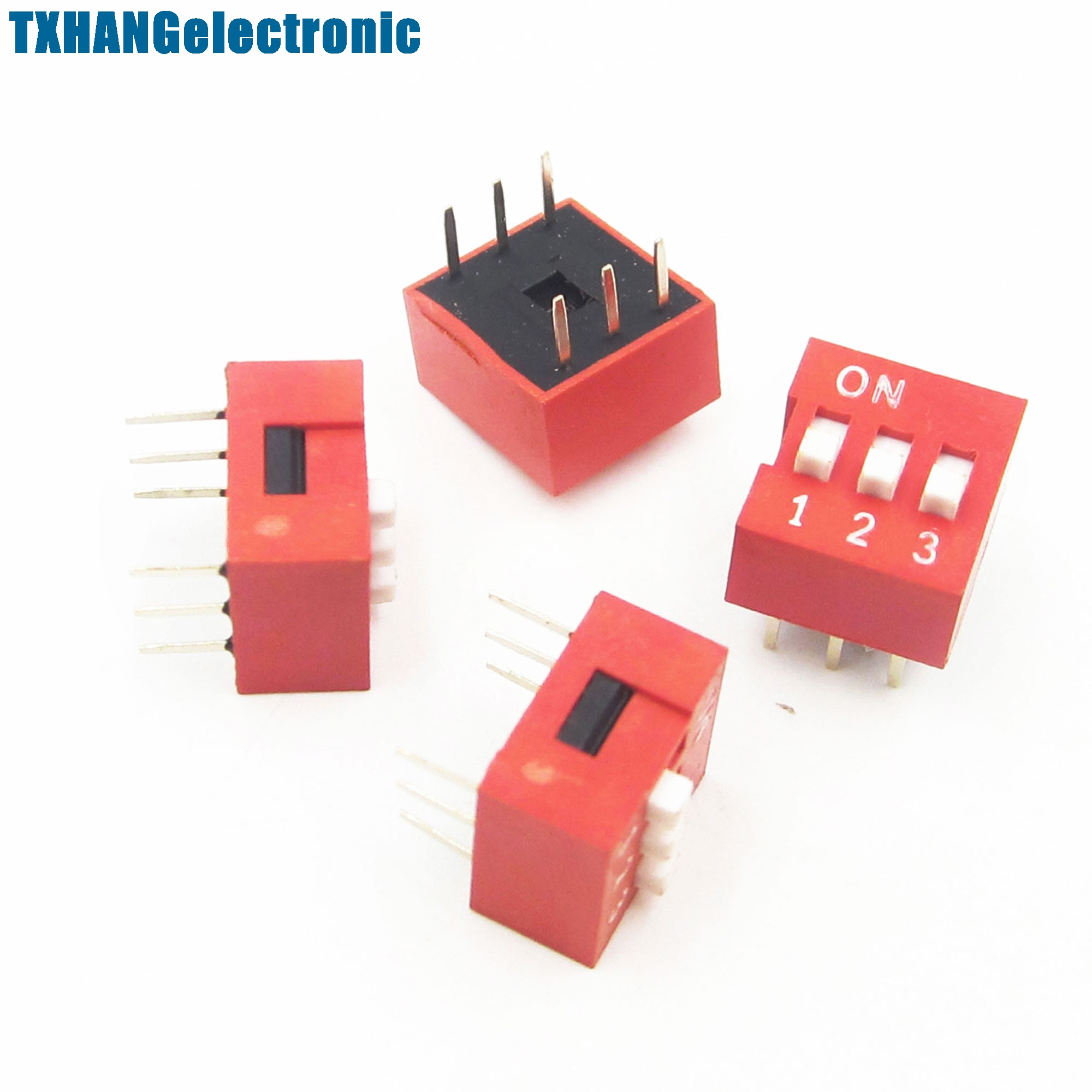 10Pcs Slide Type Switch Module 2.54mm 3 Bit 3 Position Way DIP Red ...