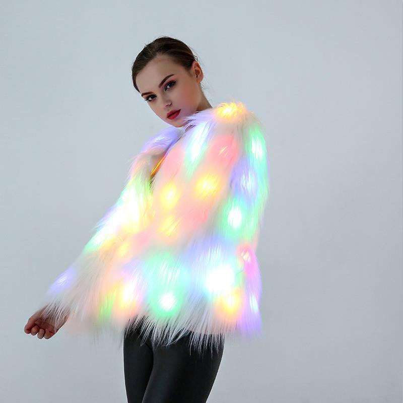 4XL Women Faux Fur LED Light Coat Christmas Costumes Cosplay Fluffy Fur Jacket Outwear Winter Warm Festival Party Club Overcoat