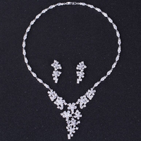 DOKOL Exquisite Flower Cluster Necklace Set AAA+ Cubic Zirconia Earrings Sets Elegant Bridal Jewerly For Wedding DKS0049