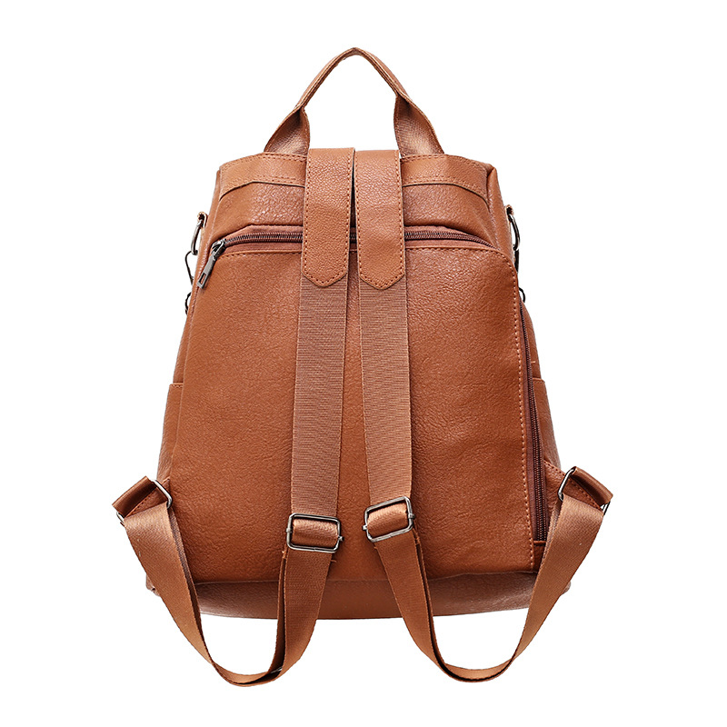 Beraghini Retro Women Leather Backpack College Preppy School Bag For Student Laptop Girls Ladies Daily Back Pack Shop Trip #3