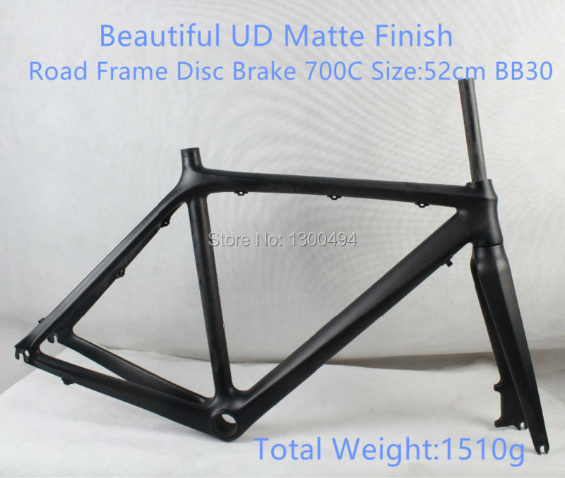 Full Carbon Road Frame  Disc Brake 700C  SIZE:52cm BB30 Fork Included  Beautiful UD Matte FinishFactory Outlets