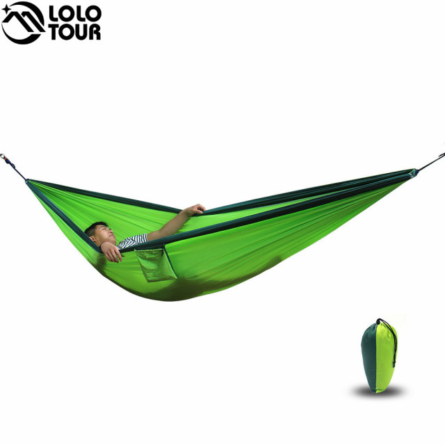 Medium image of ultra large 2 person parachute cloth hammock double garden swing nylon survival hamac sleeping hamaca