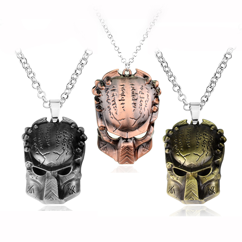 MQCHUN Movie Jewelry Alien Predator Iron Warrior Mask AVP Pendant Mens Punk Necklace Accessories Cosplay Party Gifts For Men