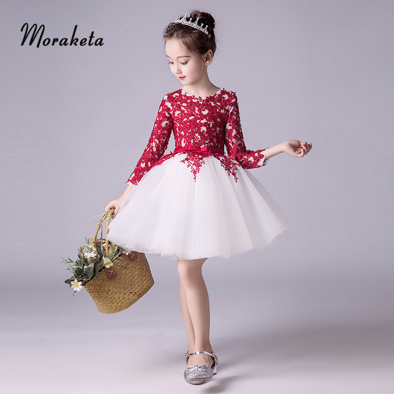 Red And White Princess Toddler Pageant   Dresses   2019 O-neck Long Sleeve Lace Tulle Ball Gown   Flower     Girl     Dresses   For Wedding