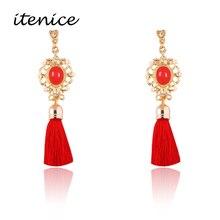 Itenice 2017 New Fashion Jewelry Short Tassels Rhinestone Trendy Drop Earrings Retro Royal Style Earring For