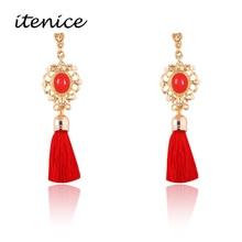 Itenice 2017 New Fashion Jewelry Short Tassels Rhinestone Trendy Drop Earrings Retro Royal Style Earring For Women