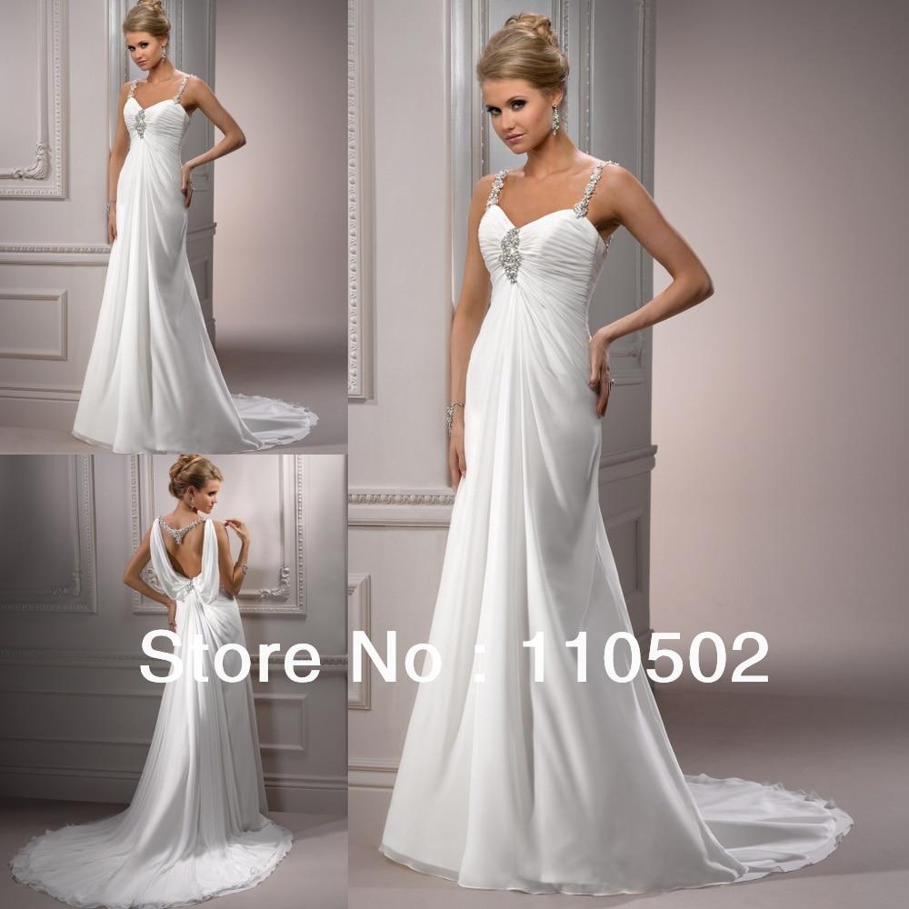 2968320d0f Free shipping fabulous chiffon beaded spaghetti strap bridal dresses for  pregnant women