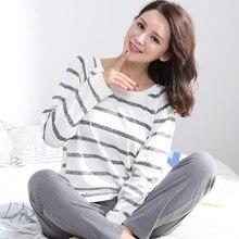 Conjuntos de pijamas feminino listrado 100% algodão caixa moda feminina manga longa sleepwear terno 2 peça sexy primavera salão casa presente
