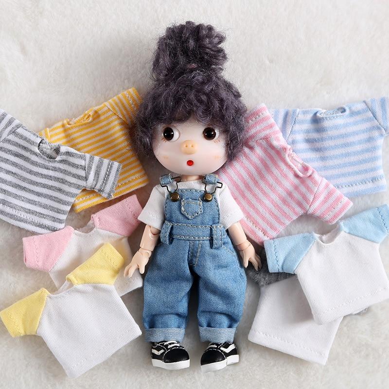 New Ob11 Bjd Doll Clothes Stripe T-shirt For 1/12 Bjd, Obitsu11,ob11 Doll Accessories Clothing