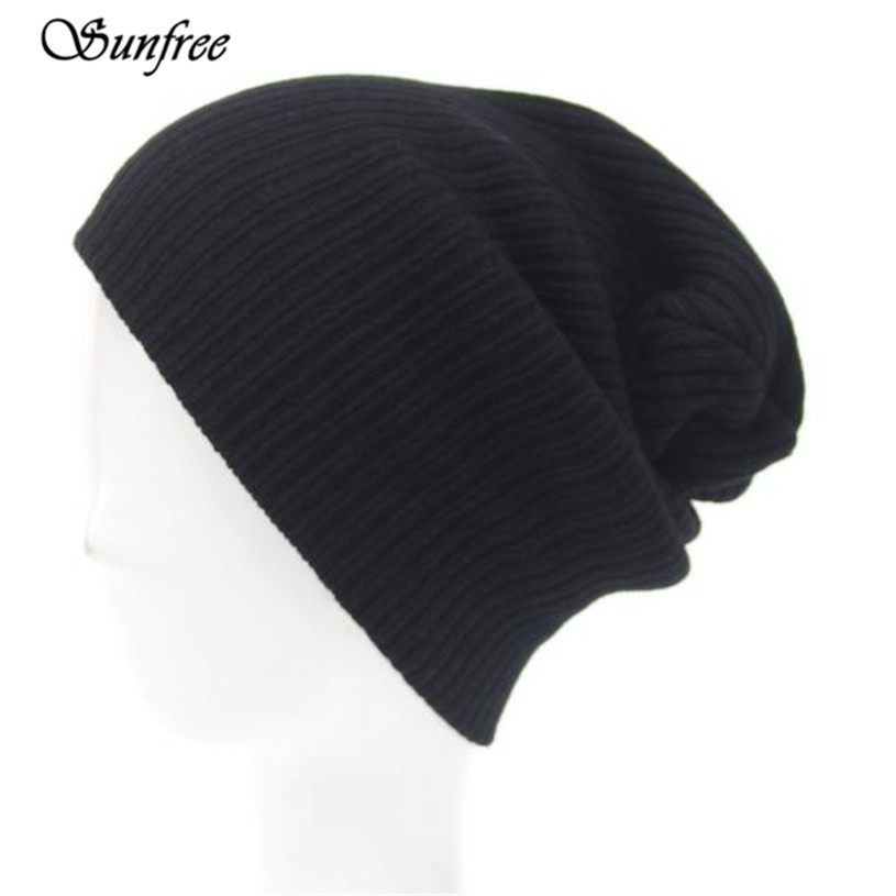 Sunfree 2017 New Fashion Men's Women Beanie Knit Cap Hip-Hop Winter Warm Unisex Wool Hat Solid Color Knitted Cap Oct 26 men women warm knit skullies bonnet beanie brand new wool winter baggy hat solid color hip hop gorro unisex female cap