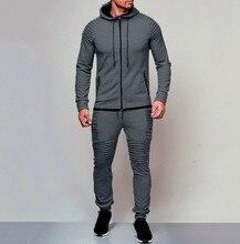ผู้ชาย Tracksuit ชุดกีฬาชุดวิ่งเสื้อผ้า Casual hoodies ชุด Zipper sweatshirt + กางเกง Jogger ชุด chandal hombre