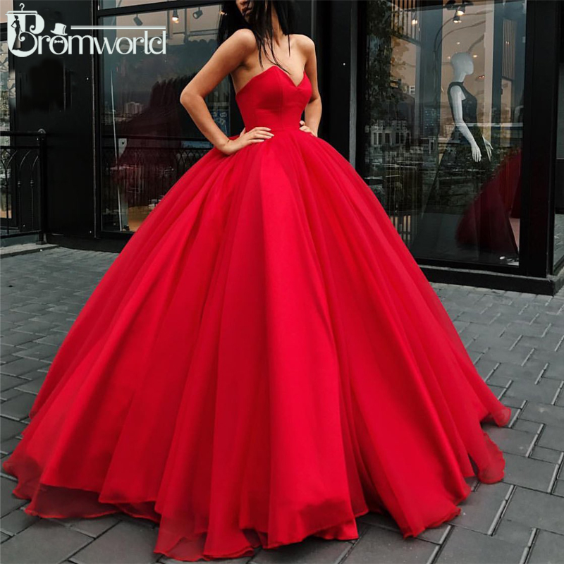 Red Ball Gown Prom Dresses 2019 Sweetheart Tulle Long Prom Gown Evening Party Dresses