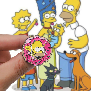 18 Style Cartoon Enamel Pin Lisa Homer Jay Marge Kirk Octopus Donut Brooches Pins For Friends Cartoon character meme Lapel Pin image
