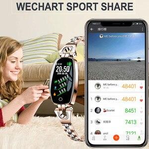 Image 2 - H8 السيدات ووتش سوار ذكي معدل ضربات القلب مقياس ضغط الدم جهاز تعقب للياقة البدنية عداد الخطى للماء عداد الخطى IOS الروبوت Smartwatch