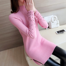 S-XL New Women's Knitted Dress Winter 2016 Fashion Elegant Turtleneck Solid Beads Split Slim Thicken Long Sweater Tops Female