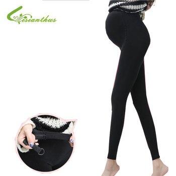 67b52a46b Leggins de maternidad de talla grande para mujeres embarazadas ajustables  de alta elasticidad Legging pantalones embarazadas para invierno maternidad  ...