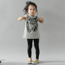2-7Y Baby Girls Kids Tiger Printed Korean Casual T-shirt Cotton Blouse Shirt Clothes(China)