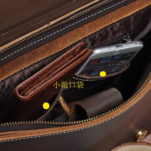 Image 5 - トップブリーフケースグレード男性メンズヴィンテージリアルクレイジーホースレザーメッセンジャーショルダーバッグポートフォリオラップトップバッグケースオフィスハンドバッグ 1095
