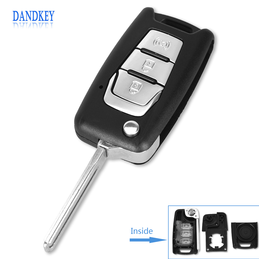 Dandkey Flip Remote Key Shell Switchblade Key For Ssangyong Korando / New Actyon / C200 3 Buttons Car Key Shell With Uncut Blade