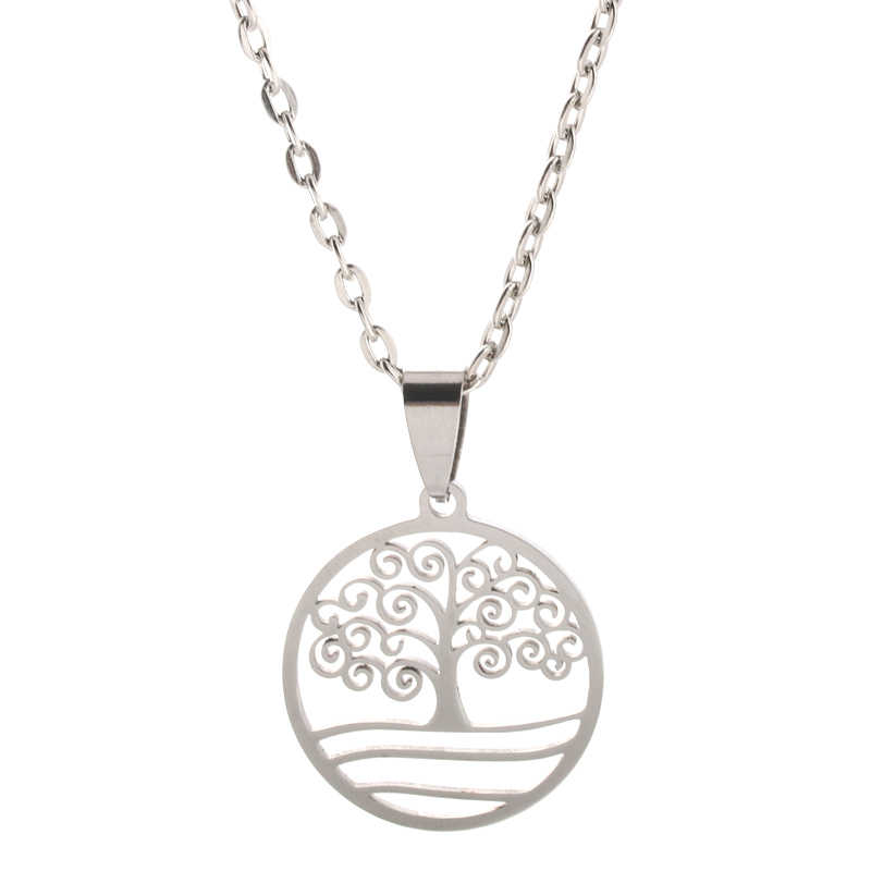 Fashion Charm Metal 316L Stainless Steel Silver Tree of Life Pendant Necklace Jewelry Gift