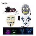 HOT 4Styles Masks V for Vendetta Ghost Halloween Mask Party Costume Cosplay Masquerade NEON Rave EL Wire + Controller