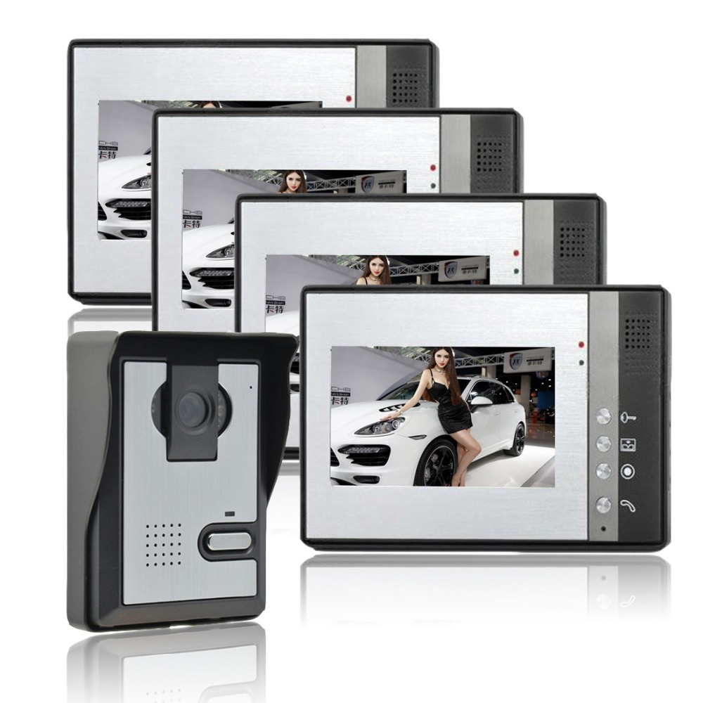 Home Security 7 inch TFT LCD Monitor Video Door phone Intercom System one to four video doorphone