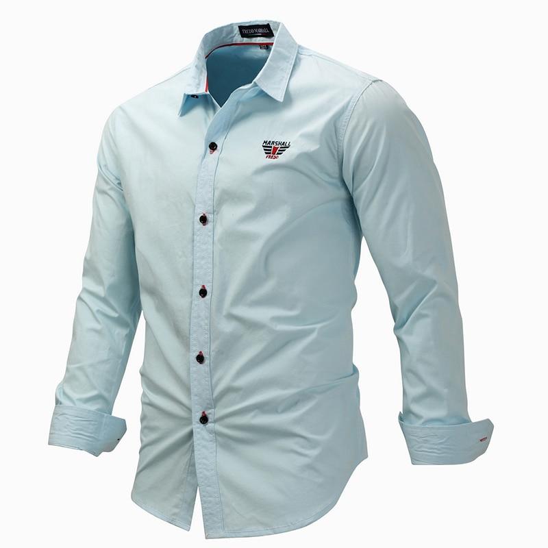 European Size Men's Lapel Shirt Casual Denim Style Shirt Washed Mens Long Sleeve Shirts 100% Cotton Casual Shirts Fm118 #5