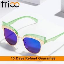 TRIOO Coating Mirror Sunglasses For Women Gold Cat Eye Shades High Fashion Oculos feminino New Cool Designer Female Sun Glasses