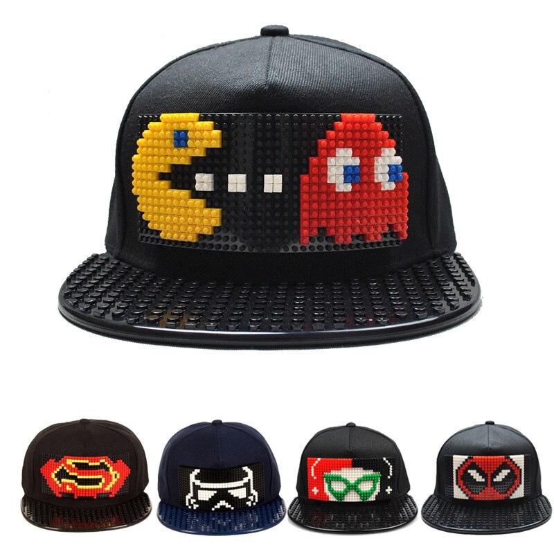 New Puzzle Games Blocks DIY legos   Baseball   Hat Bob Marley pixels Superhero Dad Hats Snapback   Cap   for Men and Women detachable