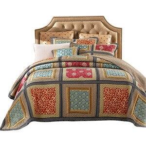 Image 5 - 綿 100% 可逆掛け布団手作りパッチワークシックなベッドカバーベッドカバー 2 枕シャムス 3 本、キング、クイーンサイズの毛布