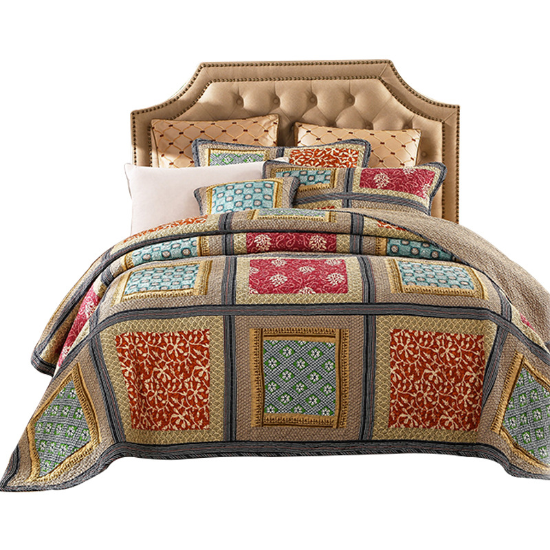 Image 5 - 100% Cotton Reversible Coverlet Handmade Patchwork Chic Bedspread Bed cover 2 Pillow shams 3pcs King Queen Size BlanketQuilts   -