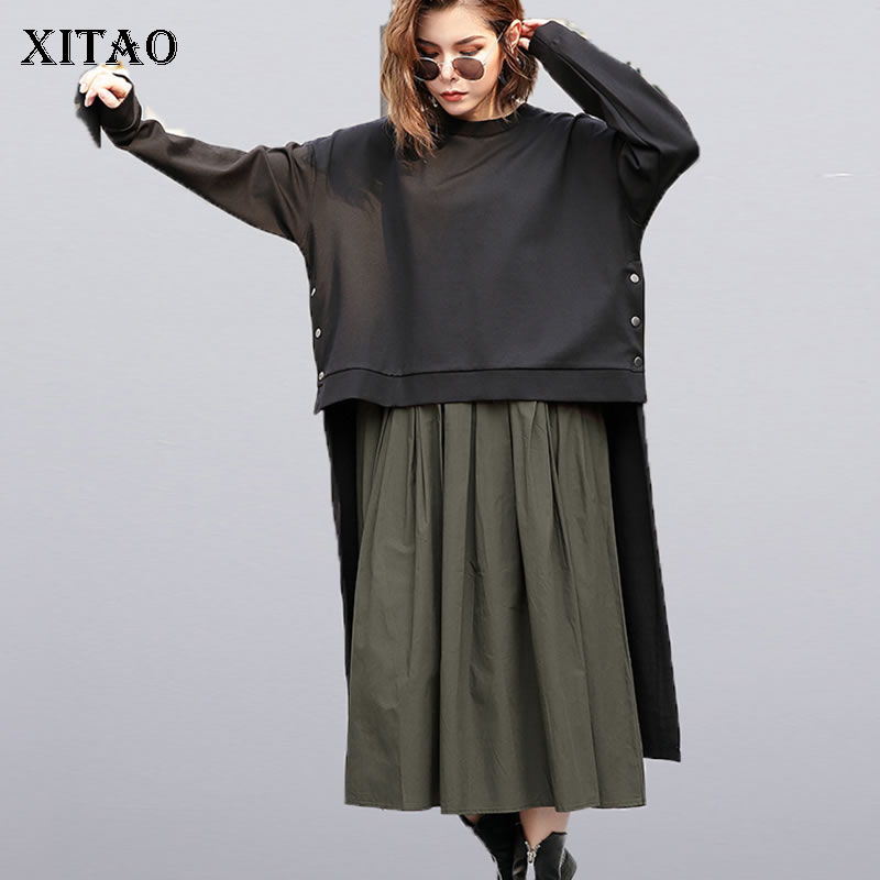[XITAO] Female Europe Fashion Dress 2019 Spring New Casual Full Sleeve Solid Color O-Neck Irregular Women Twinset Dress LYH3101(China)