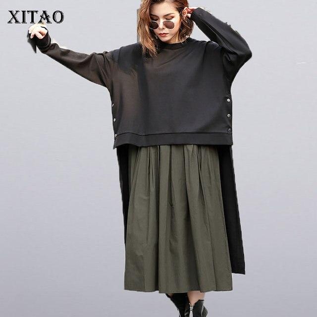 [XITAO] Vrouwelijke Europa Mode Jurk 2019 Lente Nieuwe Casual Volledige Mouw Effen Kleur O hals Onregelmatige Vrouwen Twinset Jurk LYH3101