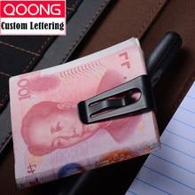 цена на QOONG Stainless Steel Customizable Money Clip Cash Clamp Holder Portable Money Clip Wallet Purse for Pocket Metal Money Holder
