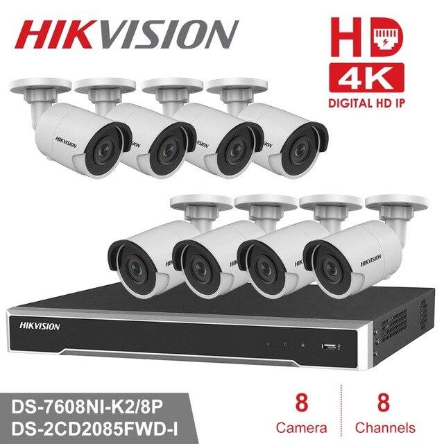 Hikvision 8CH HD Network POE NVR Kit CCTV Security System 8pcs 8MP Bullet  Outdoor IP Camera IR Night Vision Surveillance Set