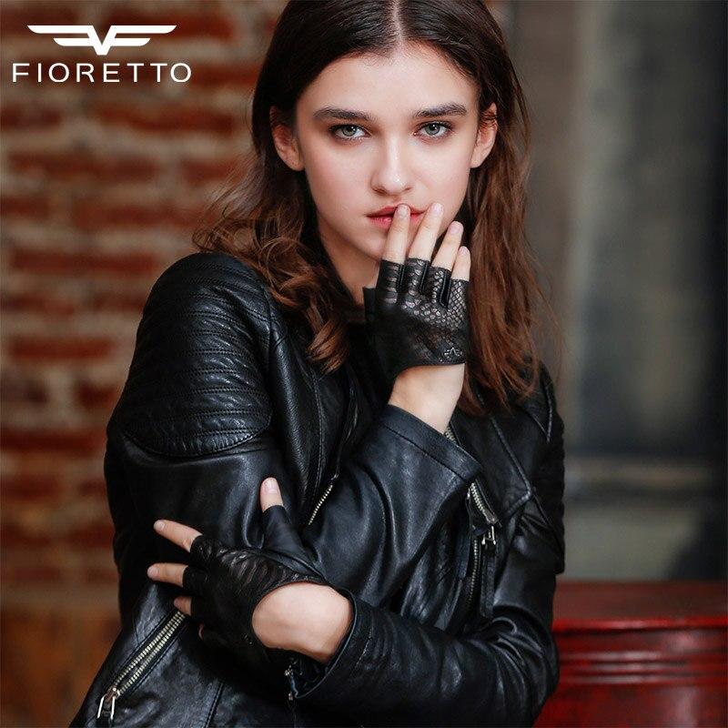 Fioretto Genuine Leather Gloves for Women Fingerless Leather Driving Gloves Punk Half Finger Ladies Brand Black Fashion Gloves