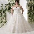 Мода Плюс Размер Свадебные Платья Элегантный Аппликации Из Бисера Линии длиной до пола Тюль Женщины Платье Невесты
