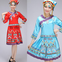 Ladies Miao Dance costumes embroidered Hmong Outfits for women costume Tops+Dress+Hatwear Women chinese folk dance costume